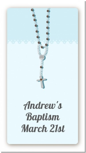Rosary Beads Blue - Custom Rectangle Baptism / Christening Sticker/Labels