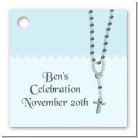 Rosary Beads Blue - Personalized Baptism / Christening Card Stock Favor Tags