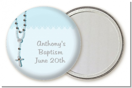 Rosary Beads Blue - Personalized Baptism / Christening Pocket Mirror Favors