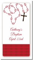 Rosary Beads Maroon - Custom Rectangle Baptism / Christening Sticker/Labels