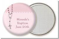 Rosary Beads Pink - Personalized Baptism / Christening Pocket Mirror Favors