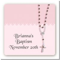 Rosary Beads Pink - Square Personalized Baptism / Christening Sticker Labels