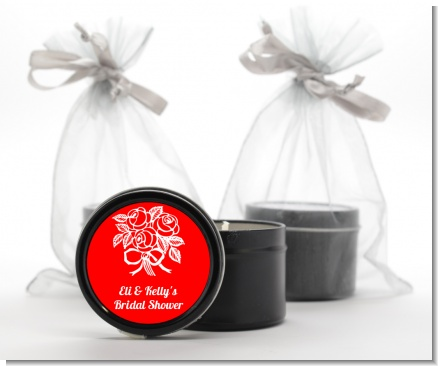 Roses - Bridal Shower Black Candle Tin Favors