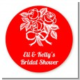 Roses - Round Personalized Bridal Shower Sticker Labels thumbnail