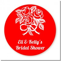 Roses - Round Personalized Bridal Shower Sticker Labels