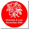Roses - Round Personalized Bridal | Wedding Sticker Labels thumbnail