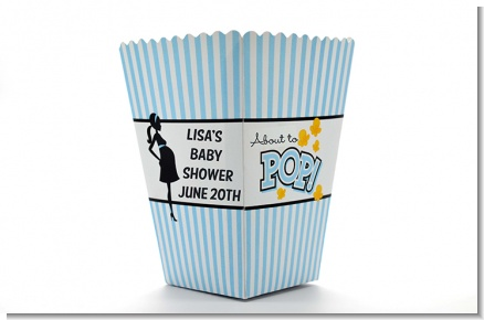 Ready To Pop Blue - Personalized Baby Shower Popcorn Boxes