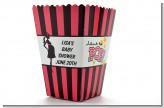 Ready To Pop Dark Pink Brown - Personalized Baby Shower Popcorn Boxes
