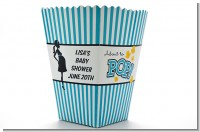 Ready To Pop Teal - Personalized Baby Shower Popcorn Boxes