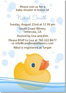 Rubber Ducky - Baby Shower Invitations