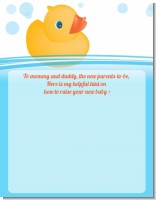 Rubber Ducky - Baby Shower Notes of Advice