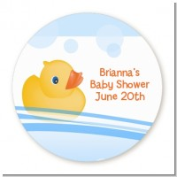 Rubber Ducky - Round Personalized Baby Shower Sticker Labels