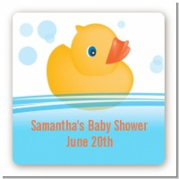 Rubber Ducky - Square Personalized Baby Shower Sticker Labels