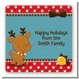 Rudolph the Reindeer - Square Personalized Christmas Sticker Labels thumbnail