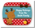 Rudolph the Reindeer - Personalized Christmas Rounded Corner Stickers thumbnail