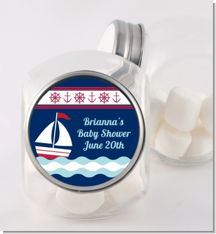 Sailboat Blue - Personalized Baby Shower Candy Jar