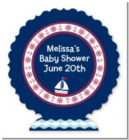 Sailboat Blue - Personalized Baby Shower Centerpiece Stand
