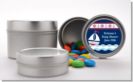 Sailboat Blue - Custom Birthday Party Favor Tins