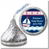 Sailboat Blue - Hershey Kiss Birthday Party Sticker Labels