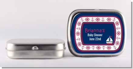 Sailboat Blue - Personalized Baby Shower Mint Tins