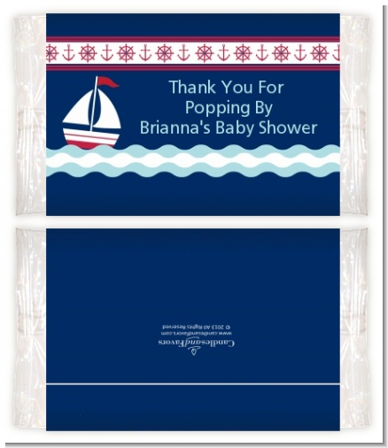 Sailboat Blue - Personalized Popcorn Wrapper Baby Shower Favors