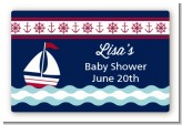Sailboat Blue - Baby Shower Landscape Sticker/Labels