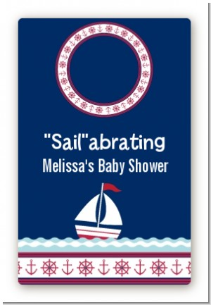 Sailboat Blue - Custom Large Rectangle Baby Shower Sticker/Labels