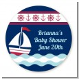 Sailboat Blue - Round Personalized Birthday Party Sticker Labels thumbnail