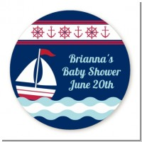 Sailboat Blue - Round Personalized Baby Shower Sticker Labels