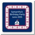 Sailboat Blue - Square Personalized Birthday Party Sticker Labels thumbnail