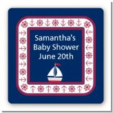 Sailboat Blue - Square Personalized Baby Shower Sticker Labels