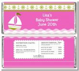 Sailboat Pink - Personalized Baby Shower Candy Bar Wrappers