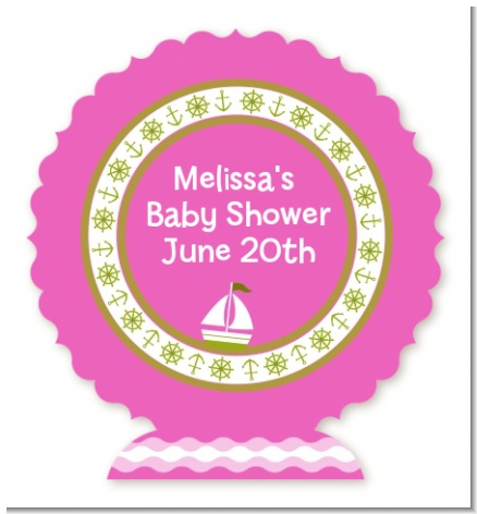 Sailboat Pink - Personalized Baby Shower Centerpiece Stand