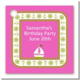 Sailboat Pink - Personalized Birthday Party Card Stock Favor Tags