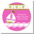 Sailboat Pink - Round Personalized Baby Shower Sticker Labels thumbnail