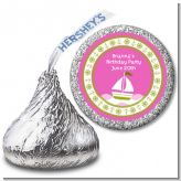 Sailboat Pink - Hershey Kiss Birthday Party Sticker Labels