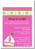 Sailboat Pink - Baby Shower Petite Invitations