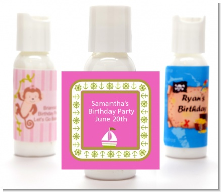 Sailboat Pink - Personalized Birthday Party Lotion Favors