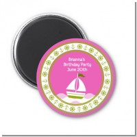 Sailboat Pink - Personalized Baby Shower Magnet Favors