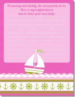 Sailboat Pink - Baby Shower Notes of Advice