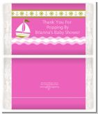 Sailboat Pink - Personalized Popcorn Wrapper Baby Shower Favors