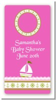 Sailboat Pink - Custom Rectangle Baby Shower Sticker/Labels