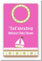 Sailboat Pink - Custom Large Rectangle Baby Shower Sticker/Labels