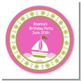 Sailboat Pink - Round Personalized Birthday Party Sticker Labels thumbnail