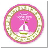 Sailboat Pink - Round Personalized Birthday Party Sticker Labels