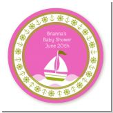 Sailboat Pink - Round Personalized Baby Shower Sticker Labels