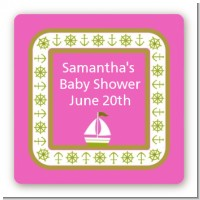 Sailboat Pink - Square Personalized Baby Shower Sticker Labels
