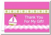 Sailboat Pink - Baby Shower Thank You Cards