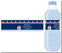 Sailboat Blue - Personalized Baby Shower Water Bottle Labels