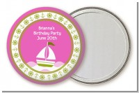Sailboat Pink - Personalized Birthday Party Pocket Mirror Favors